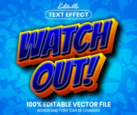 Watch out text font style vector