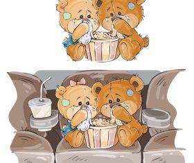 Watching sad movie cartoon vector