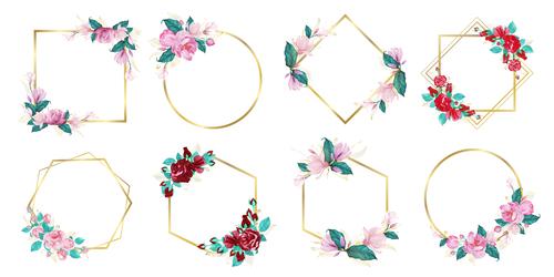 Watercolor floral frame wedding monogram vector