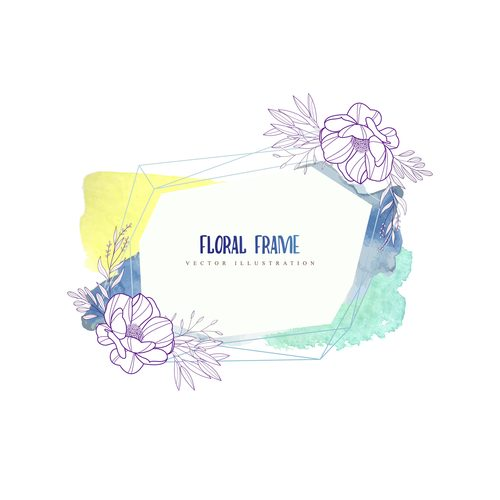 Watercolor frame hand drawn vector