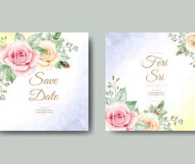 Watercolor wedding card vector
