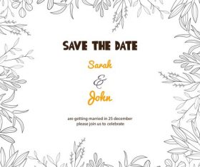 Wedding invitation card frame hand drawn vector