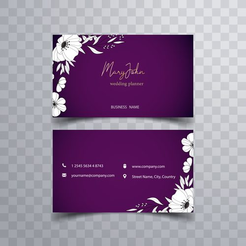 Wedding planner business card design vector