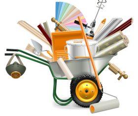 Wheelbarrow with painting tools vector