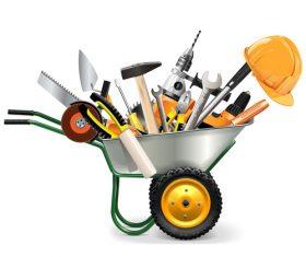 Wheelbarrow with tools vector