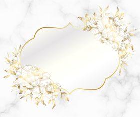 White background golden vintage frame wedding invitation card vector