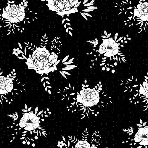 White flower vector on black background