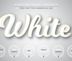 White font style effect vector