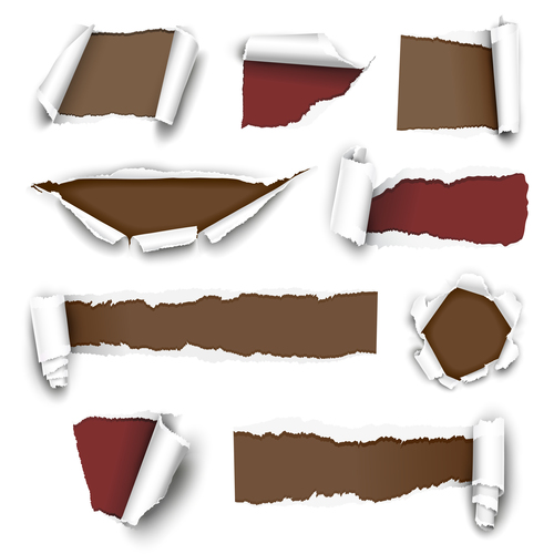 White torn paper background vector