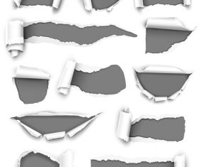 White torn paper vector on black background