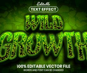 Wild growth text font style vector