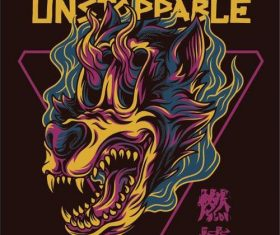Wolfie the unstoppable T-shirt print pattern background vector