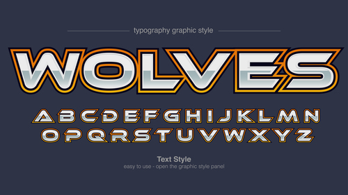 Wolves typography graphic style vector text effect