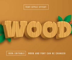 Wood editable font effect text vector