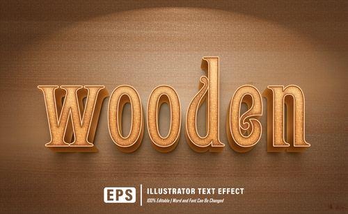 Wooden editable font effect text vector