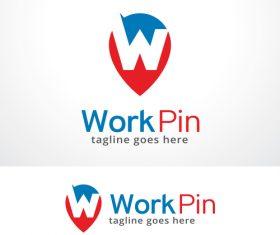 Work pin logo vector