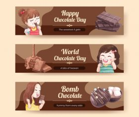 World chocolate day banner vector