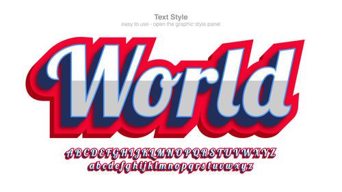 World typography graphic style vector text effect