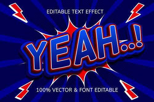 Yeah color blue red editable text effect vector