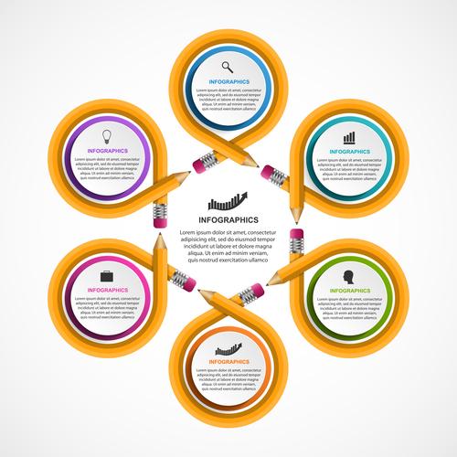 Yellow circle infographic vector