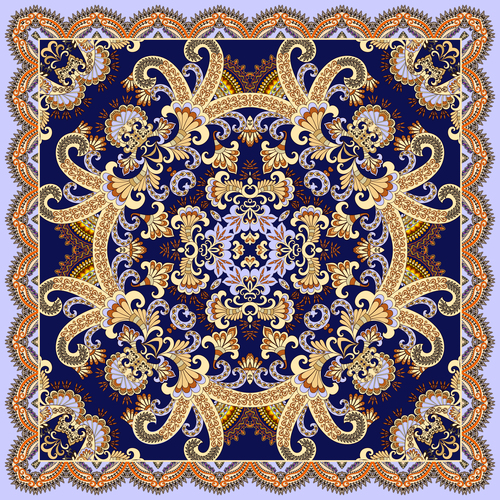 Yellow decorative curls and paisley on dark blue background vector