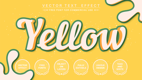 Yellow font style effect vector