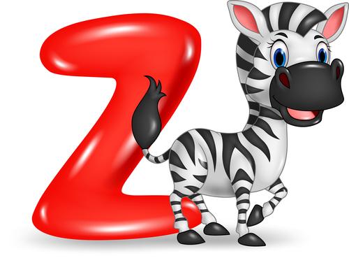 Zebra and alphabet vector