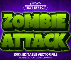 Zombie attack text font style vector
