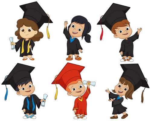 kids graduates cartoon vector