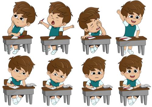 kids learning cartoon vector