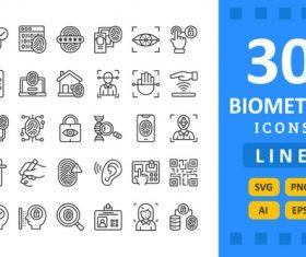 30 Biometrics Icons vector