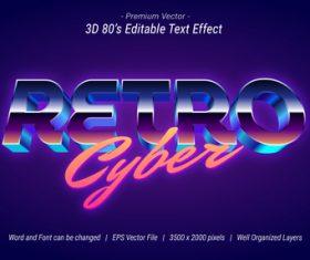3D Retro cyber editable text effect vector