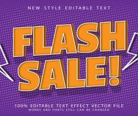 3d Flash sale editable text effect vector