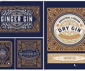 4 Vintage Packing Labels vector