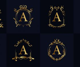 A letter logo in floral frame vector