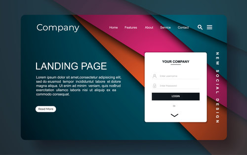 Abstract background colorful landing page vector