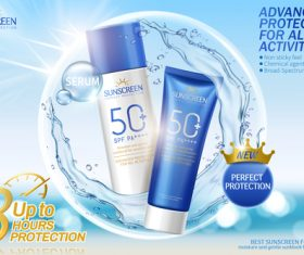Advanced protection for all activities sunscreen ads vector