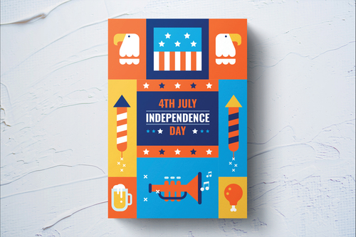 American independence day flyer template vector