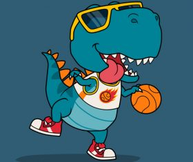 Animal cartoon playing basketball vector