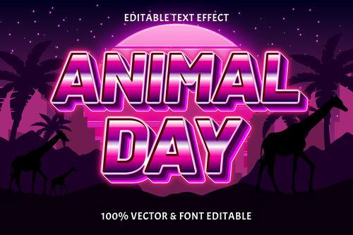 Animal day editable text effect retro style vector