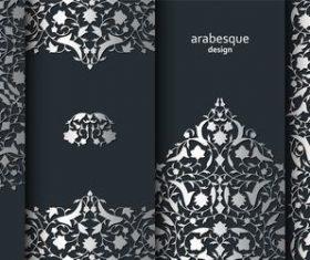 Arabesque design black background vector
