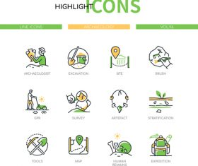 Archaeology style icons vector