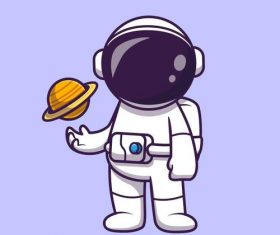 Astronaut and Saturn cartoon illustration vector