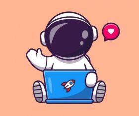 Astronaut and tablet cartoon illustration vector