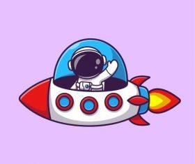 Astronaut cartoon illustration vector driving rocket