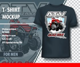 Atv quad bike t-shirt mockup vector