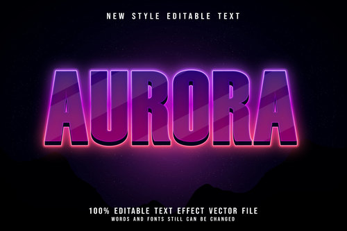 Aurora editable text effect 3D emboos modern neon style vector