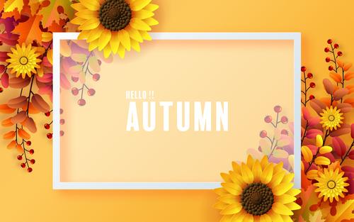 Autumn background white frame vector