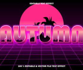 Autumn editable text effect retro style vector