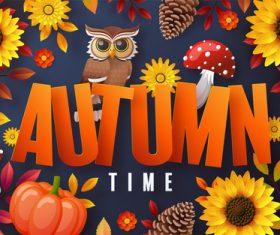 Autumn element cartoon illustration vector